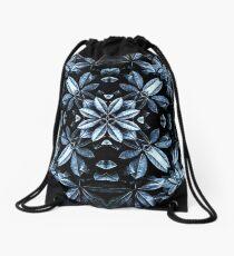 Metallic Leaves Mandala Drawstring Bag