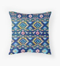 Watercolor Aztec Pattern Navajo Mayan Ancient  Throw Pillow