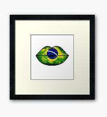Brazilian Flag Lips Framed Print