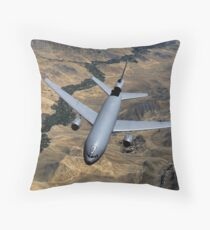 A KC-10 Extender aircraft moves out of position after receiving fuel. Throw Pillow
