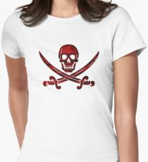 Calico Jack Pirate Flag - Red Women's Fitted T-Shirt