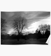 black and white sunset Poster