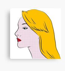 Retro blond girl portrait Canvas Print