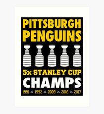 Pittsburgh Penguins 5x Champs Art Print