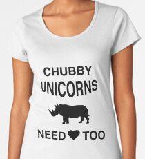 Funny Meme T-Shirt - Chubby Unicorns Need Love Too Women's Premium T-Shirt