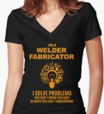 WELDER FABRICATOR Women's Fitted V-Neck T-Shirt