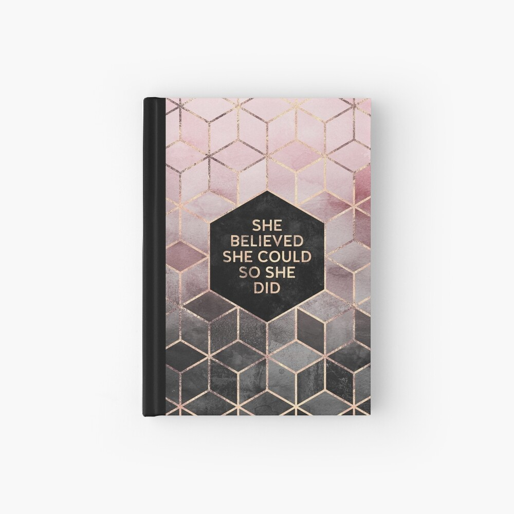 She Believed She Could - Pink Grey Hardcover Journal