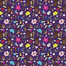 Retro Hawaii Tiki - purple - fun Hawaiian shirt pattern by Cecca Designs by Cecca-Designs