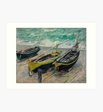 Three Fishing Boats by Claude Monet Art Print