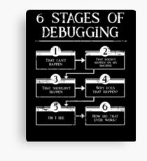 6 Stages Of Debugging Computer Programming Canvas Print