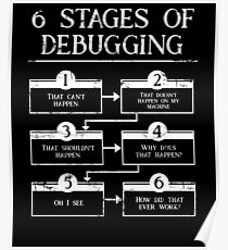 6 Stages Of Debugging Computer Programming Poster