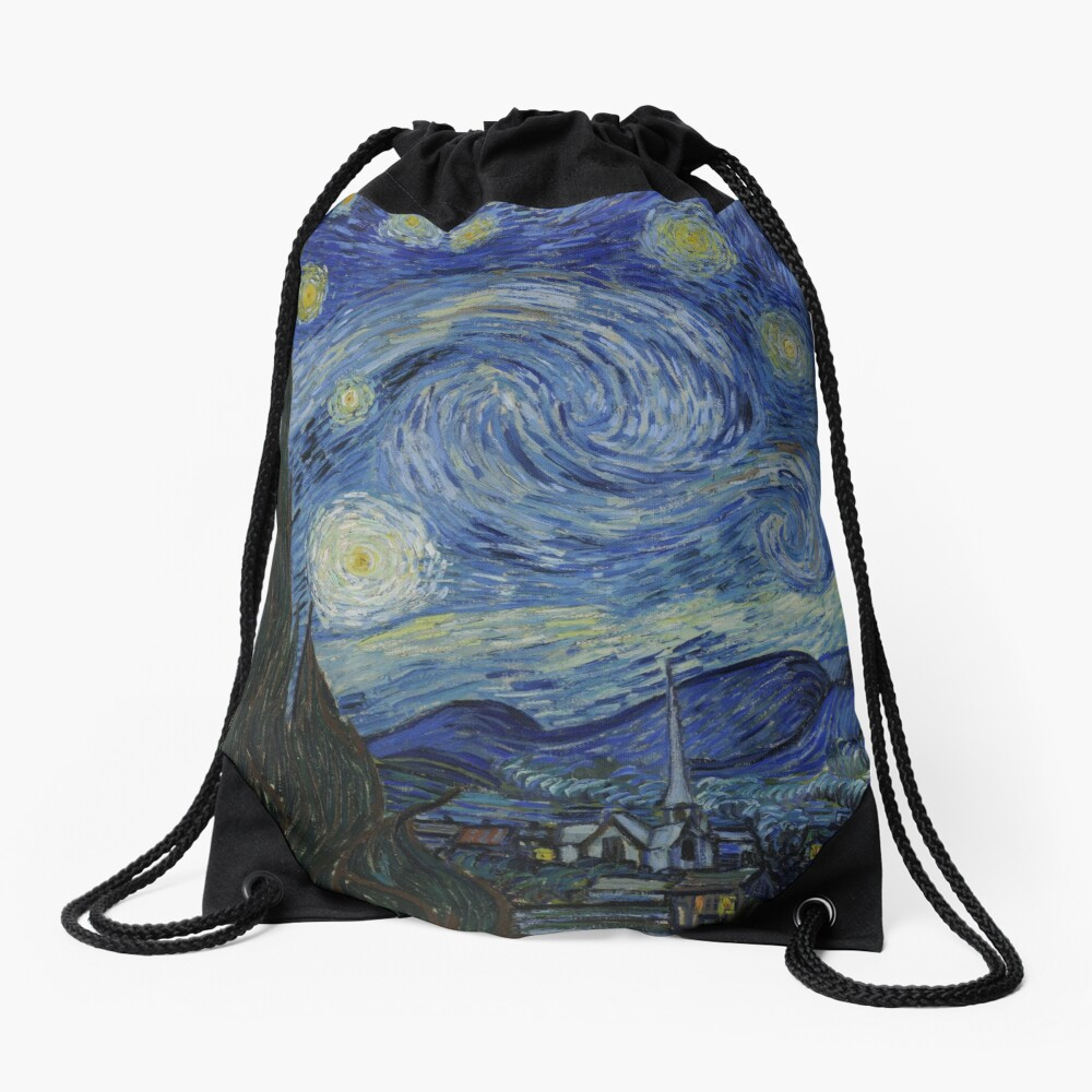 The Starry Night by Vincent van Gogh Drawstring Bag