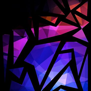 Abstract print of triangles polygon print. Bright dark design colors by fuzzyfox
