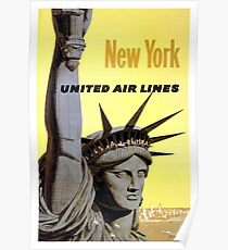 New York - United Air Lines - Statue of Liberty Poster