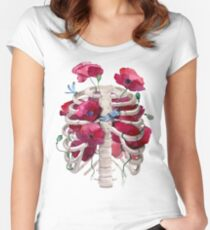 Rib cage with poppy  Women's Fitted Scoop T-Shirt