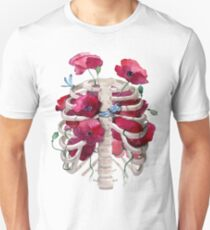 Rib cage with poppy  Unisex T-Shirt