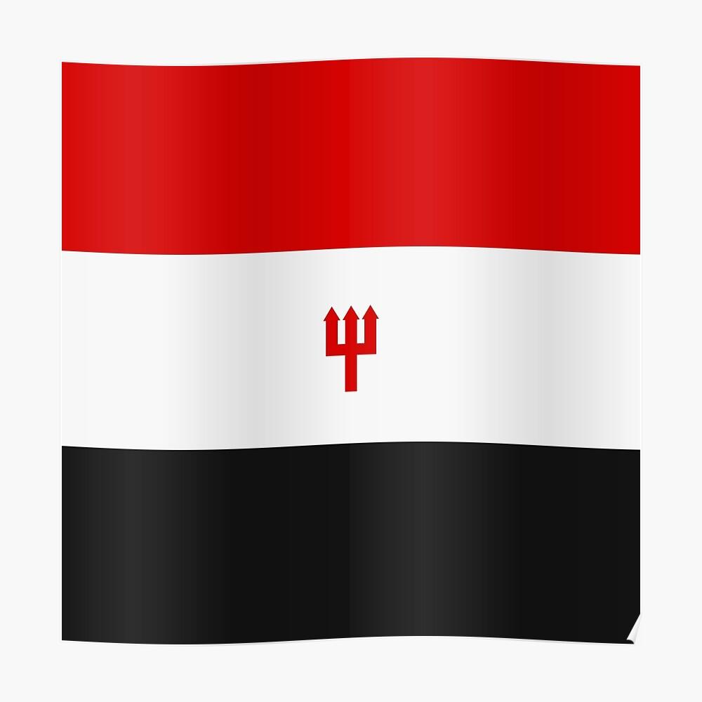 United Trident Design - Rot, Weiß & amp; Schwarz Poster