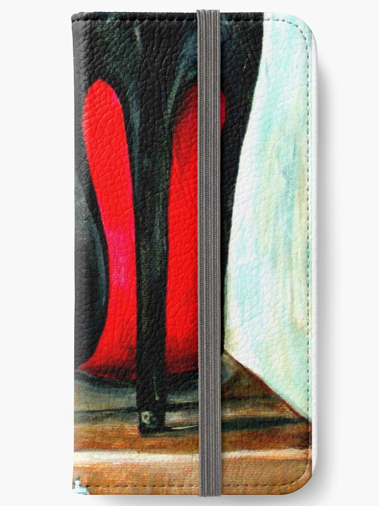 outlet store a3558 b9a92 'Christian Louboutin Pop Art Bright Black Red Bottom Heels' iPhone Wallet  by Arts4U