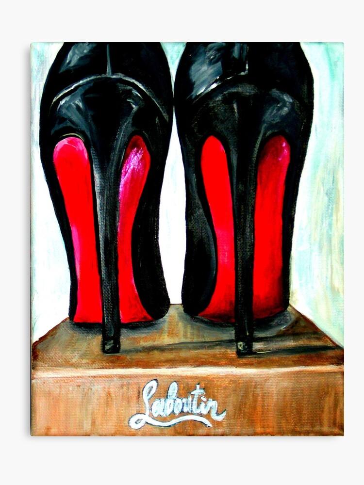 new styles 95798 64390 Christian Louboutin Pop Art Bright Black Red Bottom Heels   Canvas Print