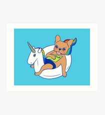 Frenchie enjoys summer on unicorn pool float in swimming pool Art Print