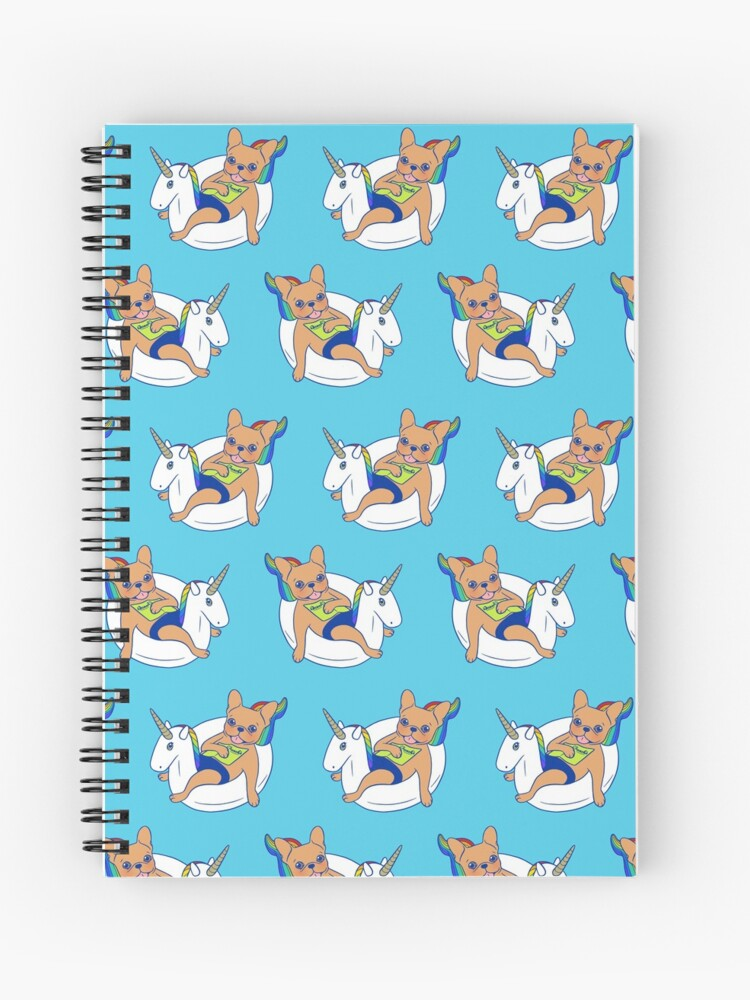 Frenchie enjoys summer on unicorn pool float in swimming pool | Spiral  Notebook