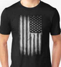American flag grunge Black and white T-Shirt