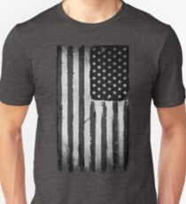 American flag grunge Black and white Unisex T-Shirt