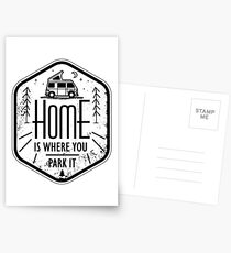 Home is where you park it vanlife camper art Postcards