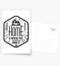Home is where you park it vanlife camper art Postkarten