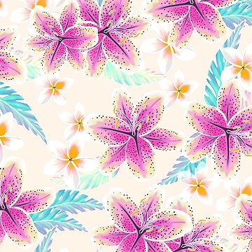 Tropical floral watercolor pattern by MartaOlgaKlara