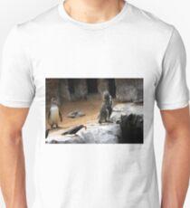 2 indignant penguins and 1 happy tern Unisex T-Shirt