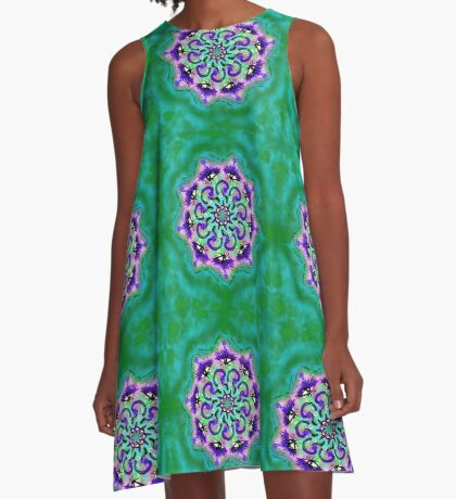 Spider Eye Mandala - Green BG A-Line Dress