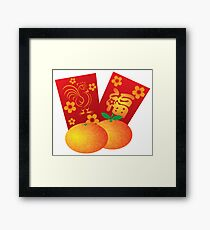 2017 Chinese New Year Rooster Red Packet Background Framed Print