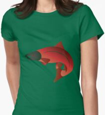 Coho Salmon Color Illustration Women's Fitted T-Shirt