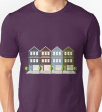 Townhouse with Tandem Color Garage Unisex T-Shirt