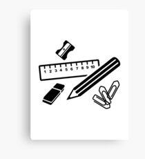 Pencil ruler paper clip eraser Canvas Print