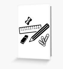 Pencil ruler paper clip eraser Greeting Card
