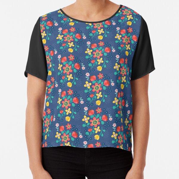 Flower Power In Blue Pattern  Chiffon Top