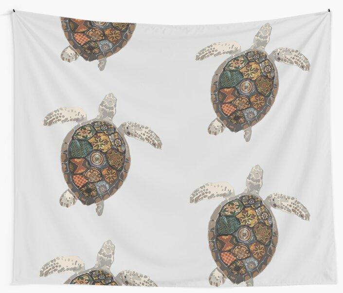 Watercolour Tiled Sea Turtle by -monkey-