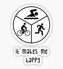 it makes me happy-triathlon Sticker