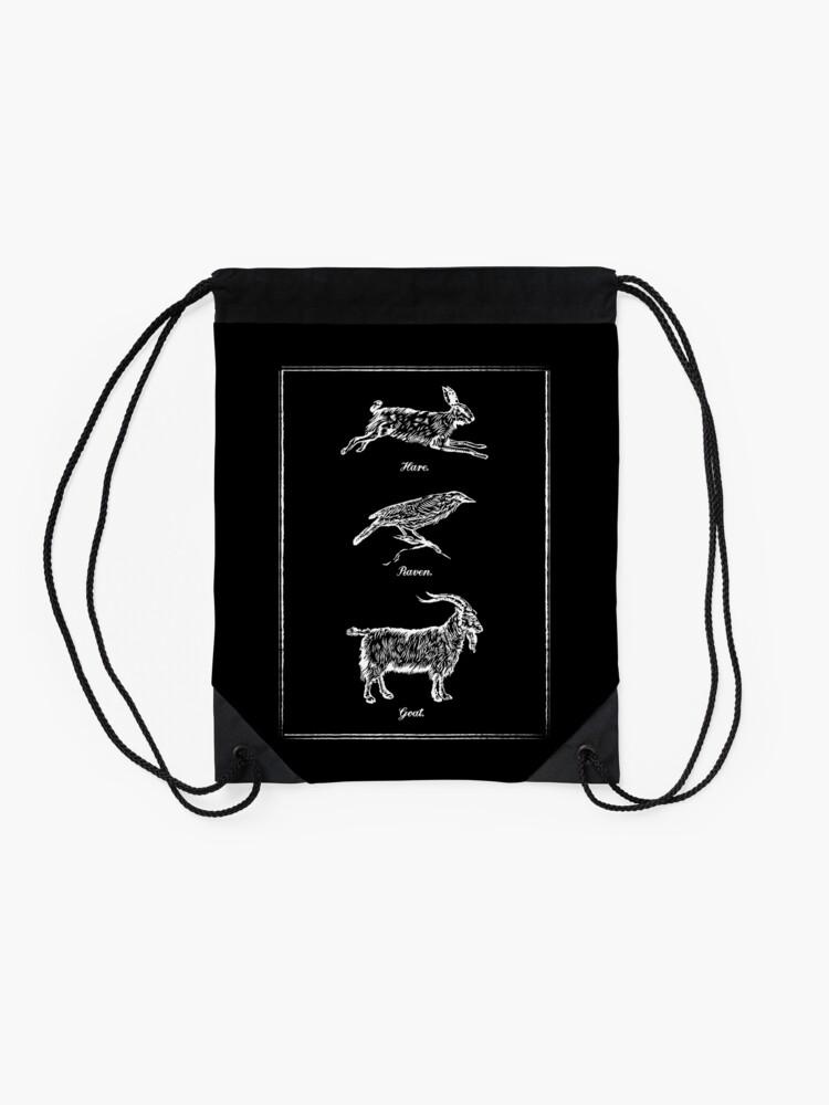 Alternate view of Hare, Raven, Goat Drawstring Bag