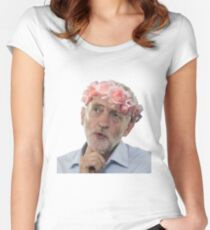 Jeremy Corbyn Flower Crown Women's Fitted Scoop T-Shirt