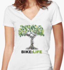 BIKE:LIFE tree Women's Fitted V-Neck T-Shirt