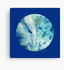Acrylic Pour on Round Canvas 61317 blues Canvas Print