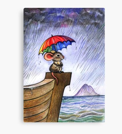 Little rainbow mouse Canvas Print