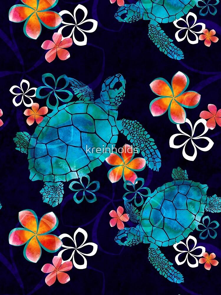 Meeresschildkröte mit Blumen von kreinholds