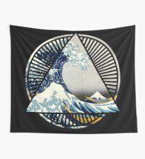 Vintage Hokusai Mont Fuji Grande Tsunami vague japonaise géométrique Manga Shirt Tenture murale