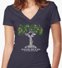 Bike Tree (white) Women's Fitted V-Neck T-Shirt