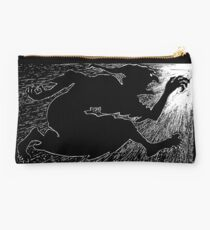 John Dickson Batten - Black and White Evil Witch Chasing Adventurer with Sword Fairy Tale Studio Pouch