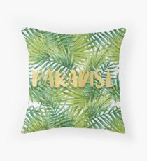 Paradise in Hawaiian Palm Leaves Throw Pillow